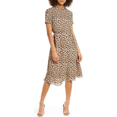 Avec Les Filles Leopard Mock Neck Short Sleeve Dress, Brown
