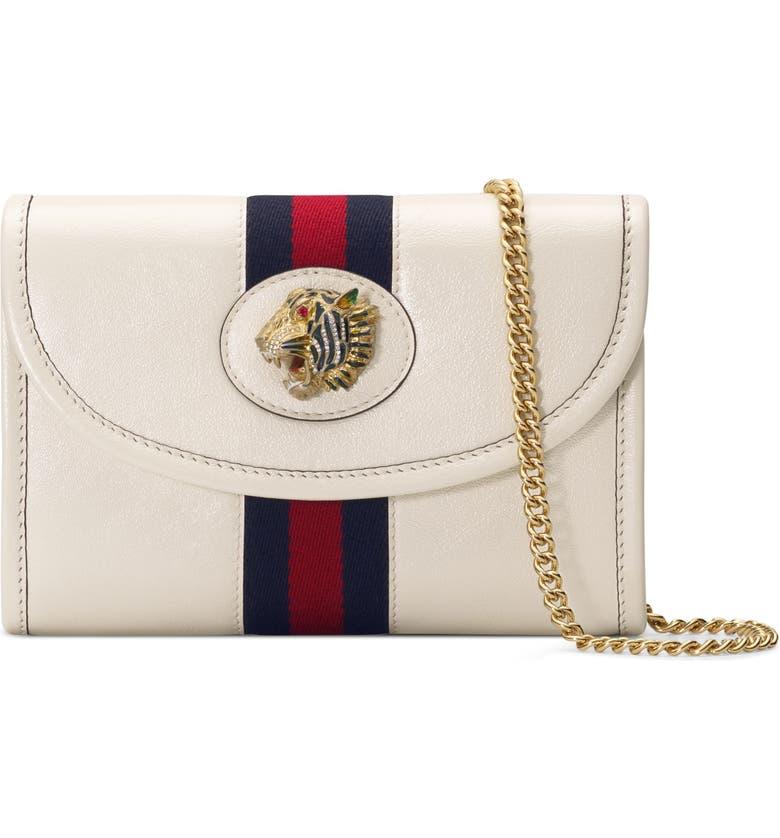 GUCCI Mini Rajah Leather Crossbody Bag, Main, color, MYSTIC WHITE/ BLUE RED MULTI