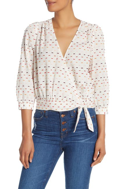 Image of Madewell Clip Dot Patterned 3/4 Sleeve Blouse