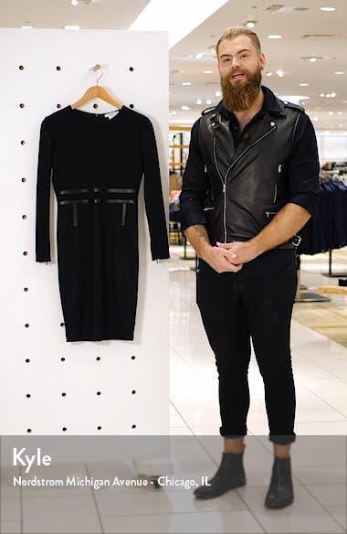 Xeno Leather Detail Long Sleeve Dress, sales video thumbnail