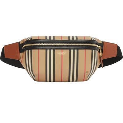 Burberry Medium Sonny Icon Stripe E-Canvas Belt Bag - Beige