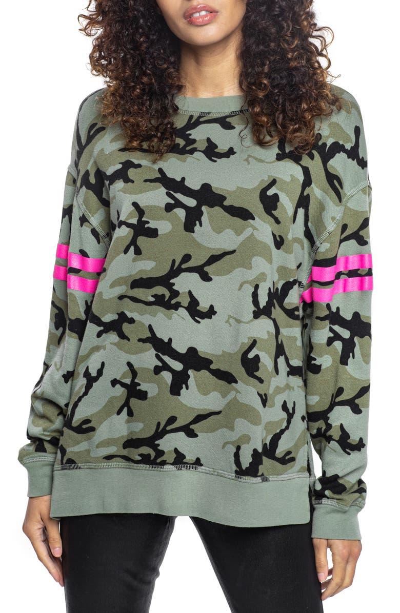 FOUND DENIM Camo Print Cotton Blend Sweatshirt, Main, color, 315
