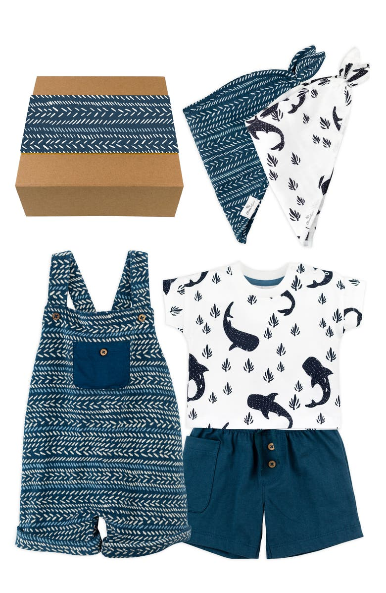 OLIVER & RAIN Whaleshark Romper, Graphic Tee, Shorts & Bandana Bibs Gift Set, Main, color, NAVY