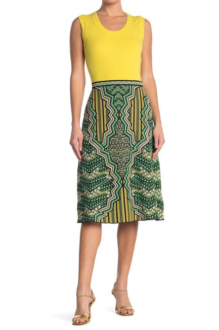 Image of M Missoni Abstract Print Midi Skirt