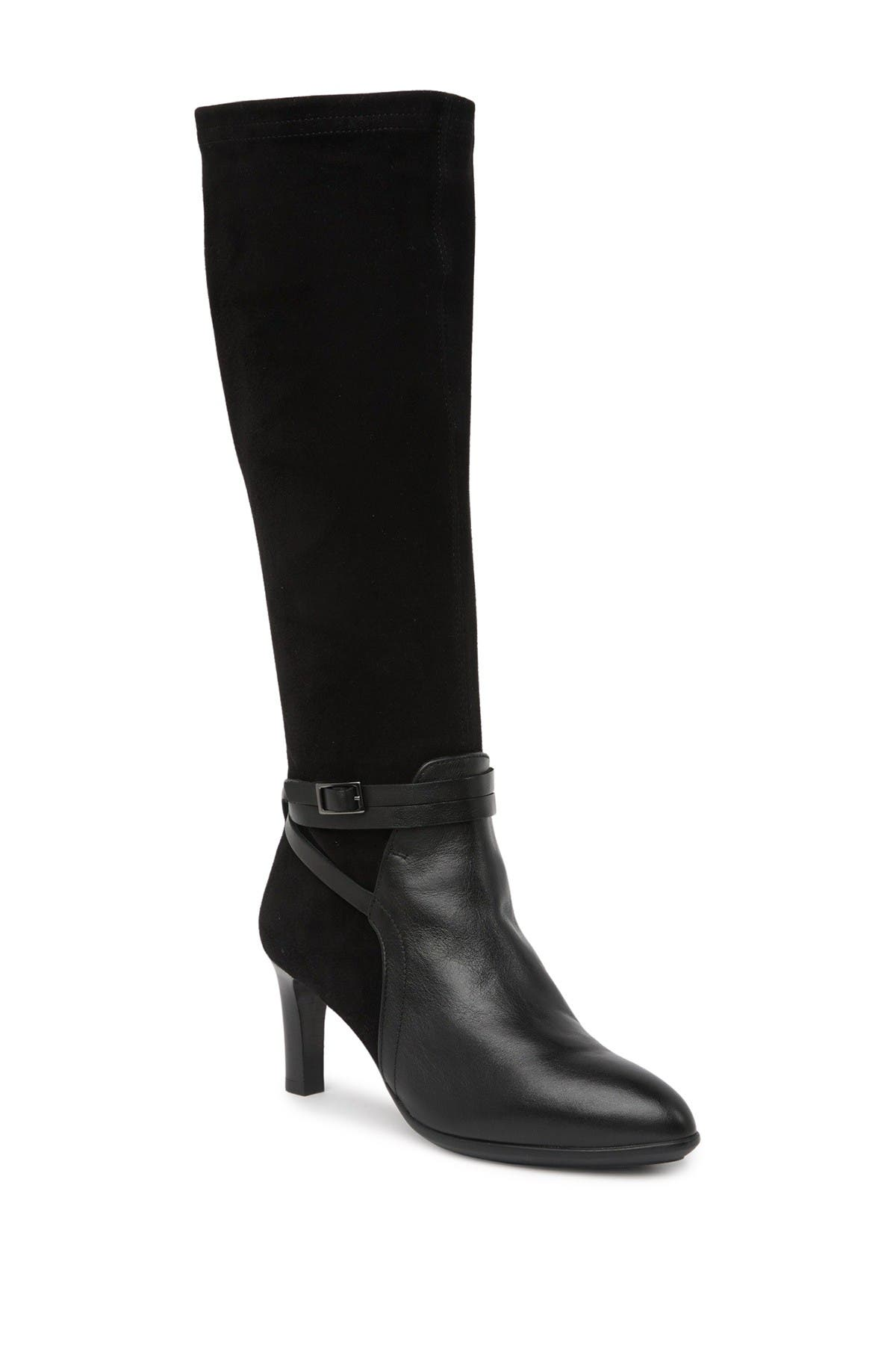 Image of Aquatalia Dayna Buckled Leather Stiletto Boot