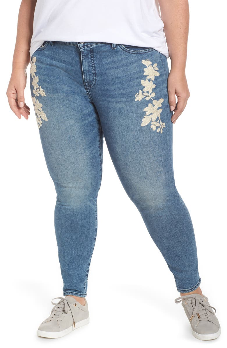 LUCKY BRAND Lolita Embroidered Skinny Jeans, Main, color, AVON-P