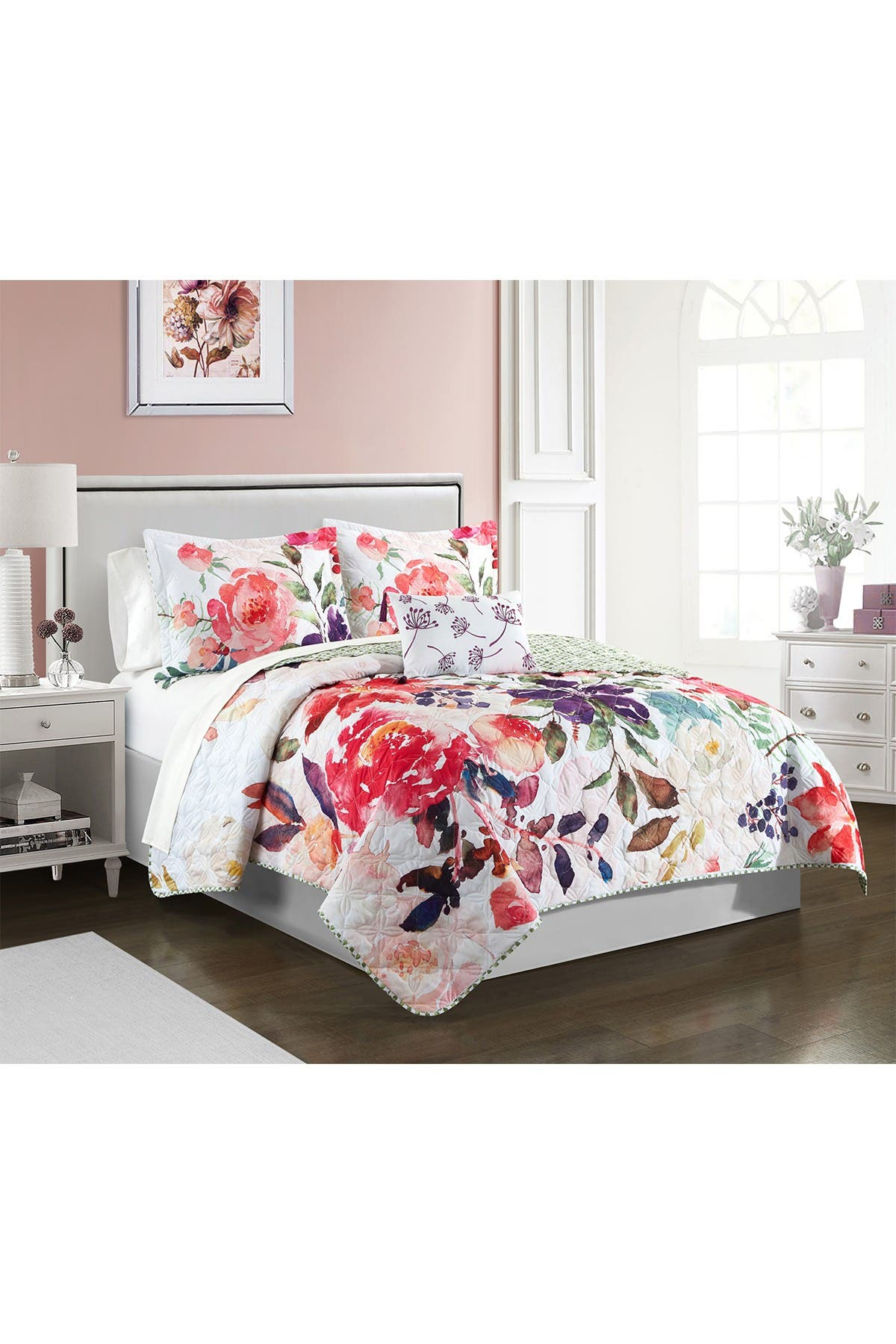 Image of Chic Home Bedding Ovilos Watercolor Floral Print With Geometric Leaf Pattern On The Reverse King, Quilt Set, Multi Color, 4-Piece