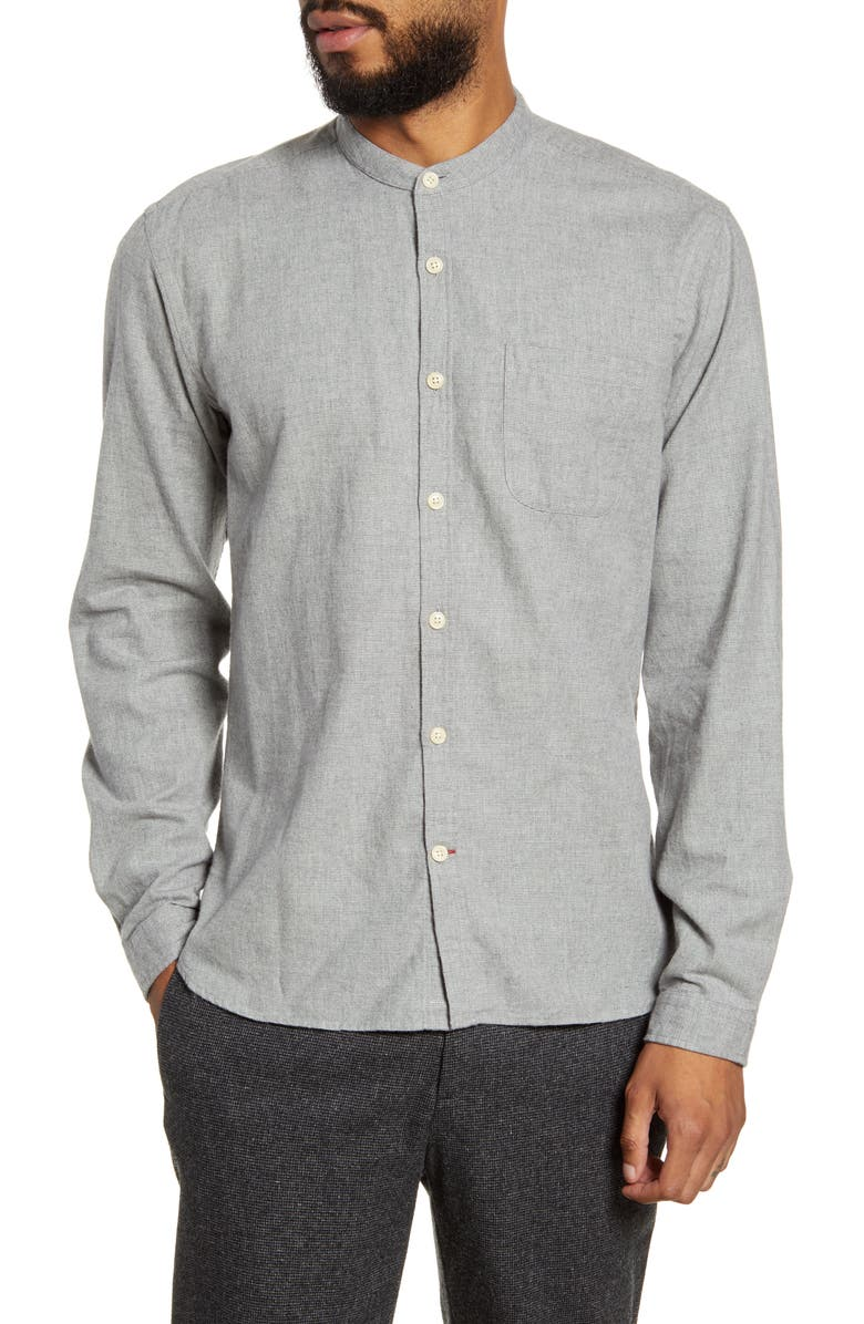 OLIVER SPENCER New York Special Slim Fit Button-Up Band Collar Shirt, Main, color, 050
