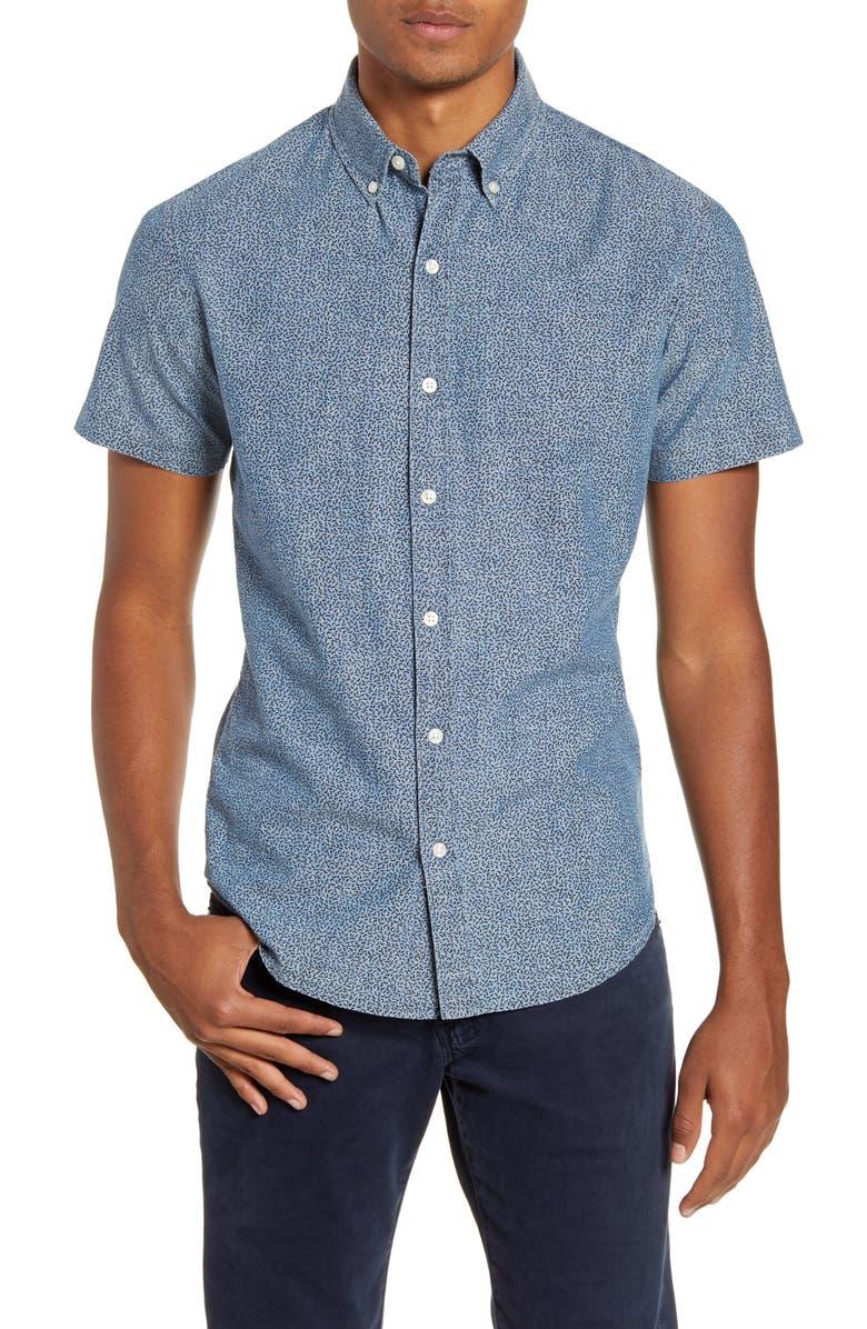 BONOBOS Riviera Slim Fit Chambray Short Sleeve Button-Down Shirt, Main, color, DOODLE TOSS MEDIUM CHAMBRAY