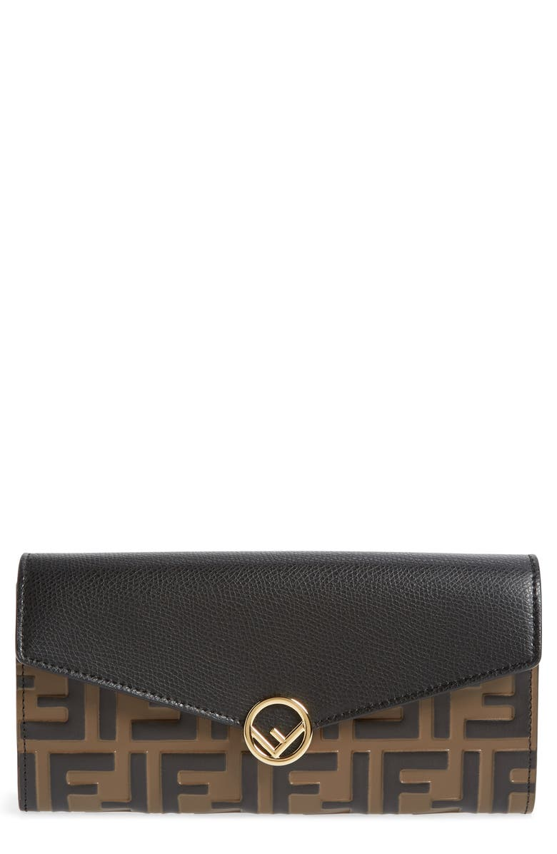 FENDI Calfskin Leather Continental Wallet on a Chain, Main, color, 005
