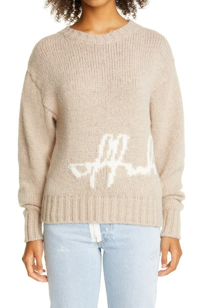 Off-White INTARSIA SCRIPT LOGO ALPACA BLEND SWEATER
