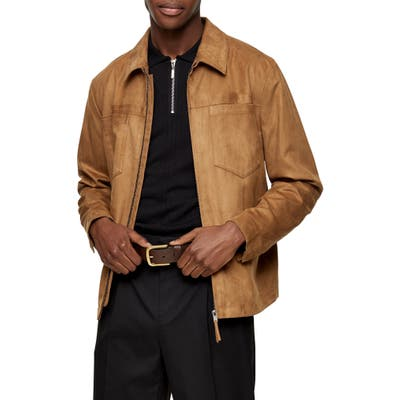 Topman Tommy Classic Fit Faux Suede Zip Shirt Jacket, Brown