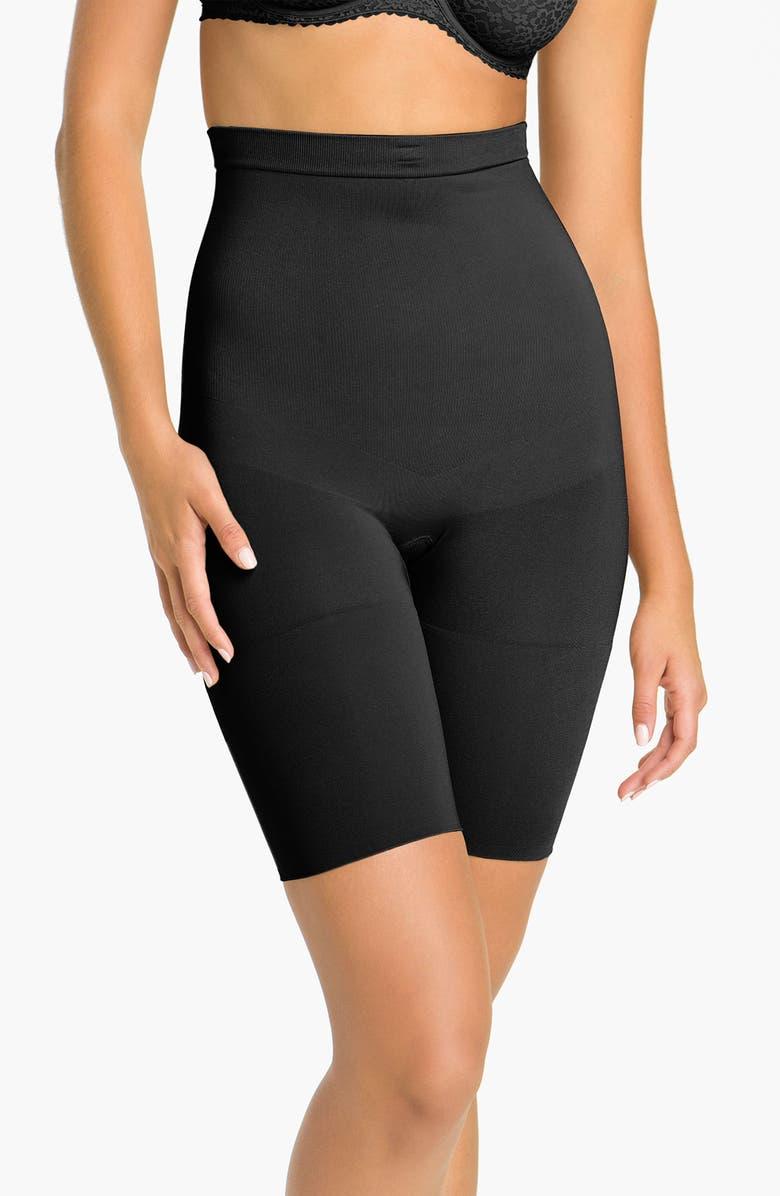 SPANX<SUP>®</SUP> 'Slim Cognito' Mid-Thigh Bodysuit Shaper, Main, color, BLK