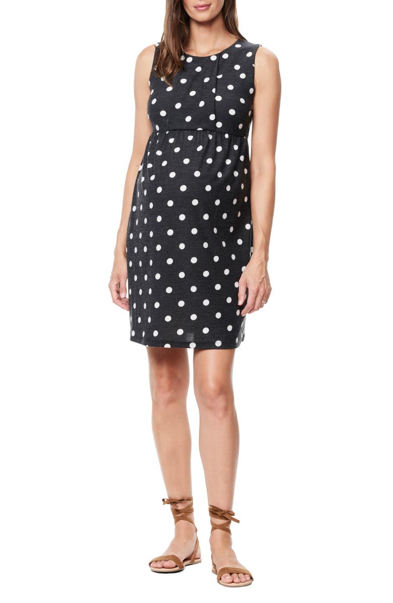 MATERNAL AMERICA Pleated Bodice Jersey Maternity Dress, Main, color, WHITE POLKA DOT