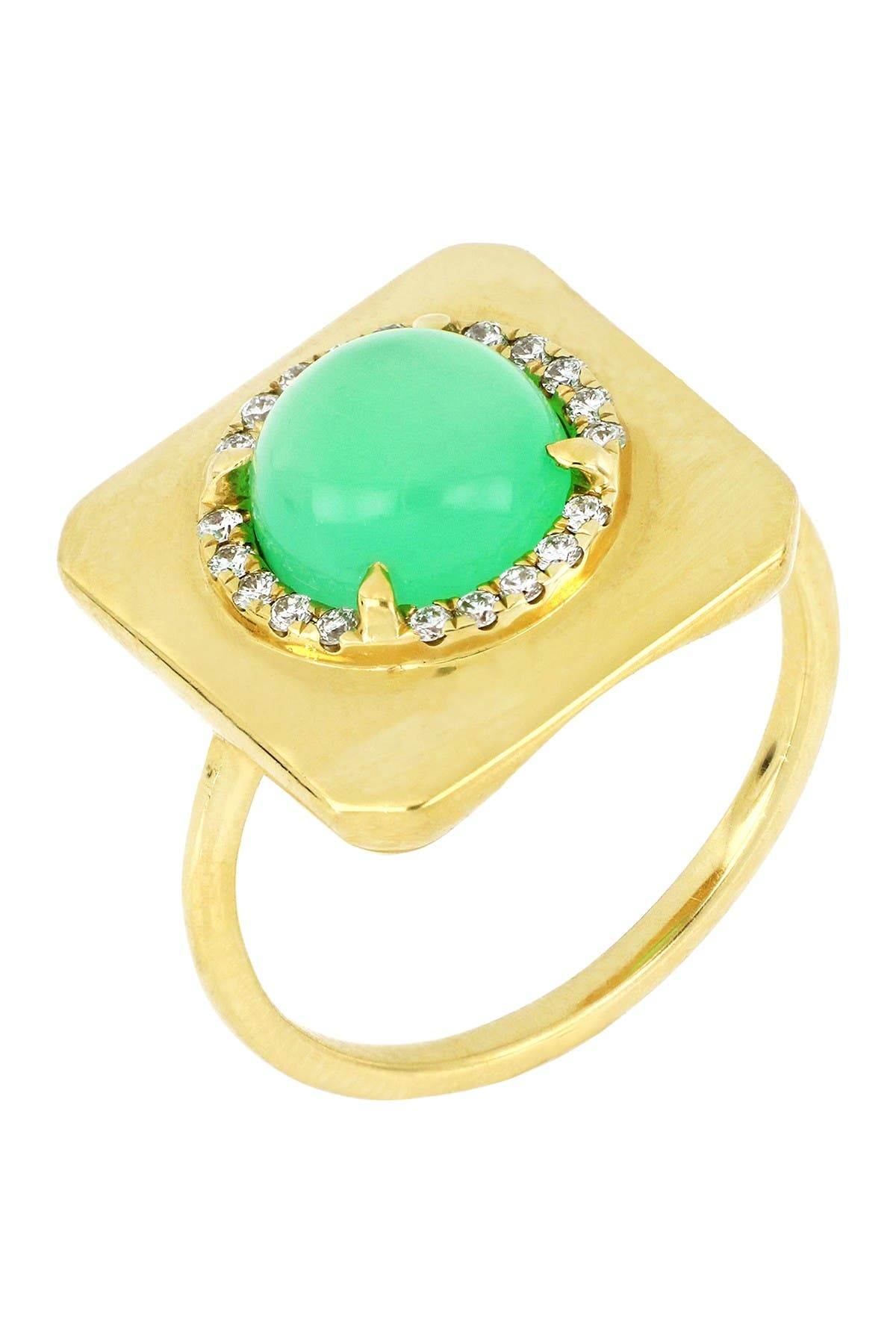 Image of Bony Levy 18K Yellow Gold Round Chrysoprase & Diamond Halo Ring - Size 6.5