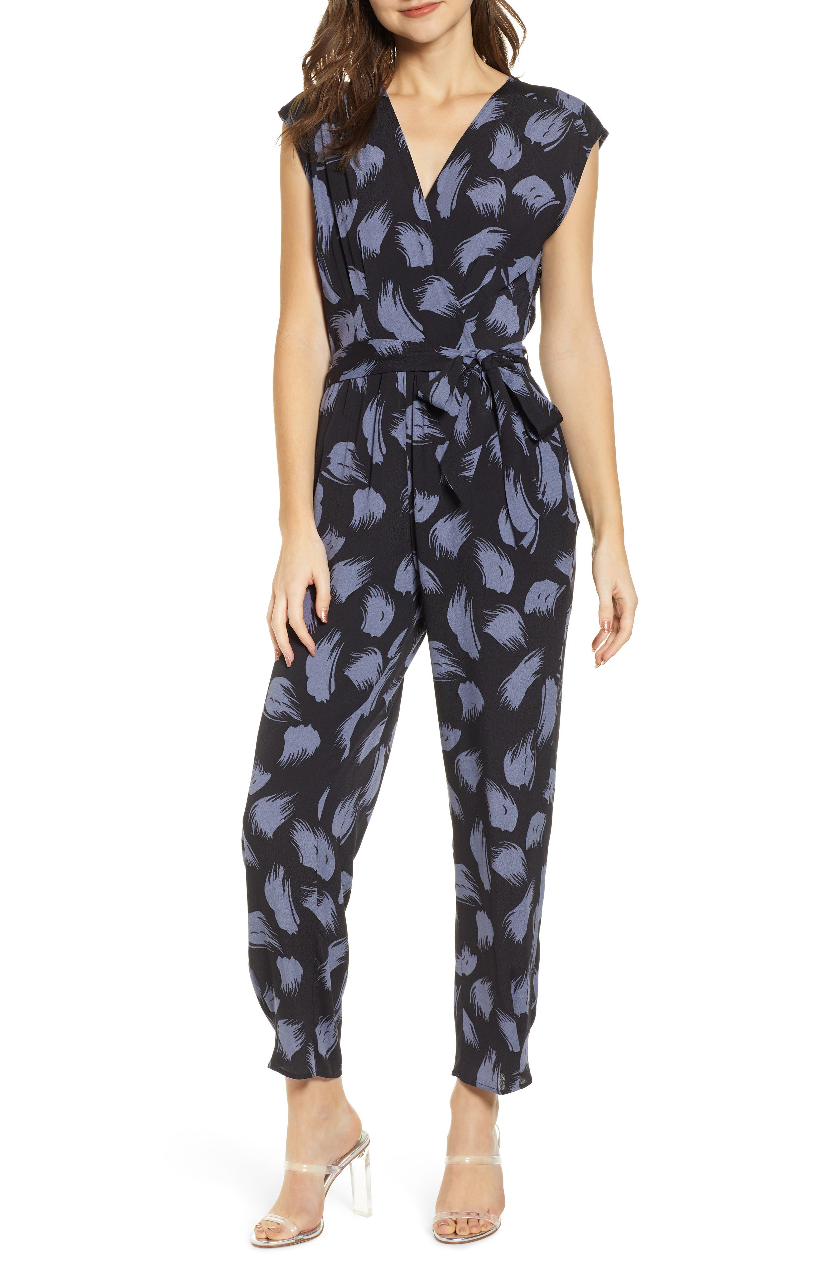 ,                             Tie Waist Print Jumpsuit,                             Main thumbnail 1, color,                             001