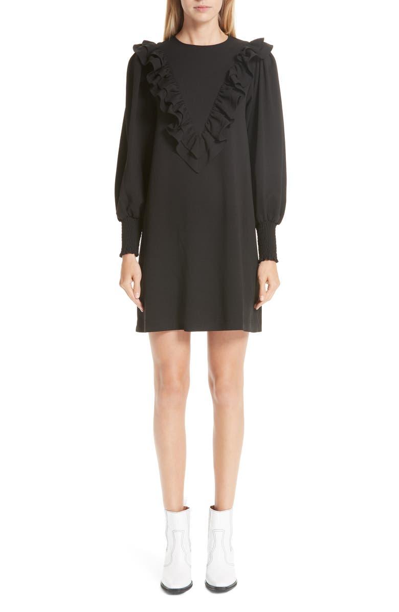 GANNI Crepe Dress, Main, color, 001