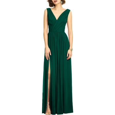 Dessy Collection Lux V-Neck Chiffon Gown, 2 (similar to 18W-20W) - Green