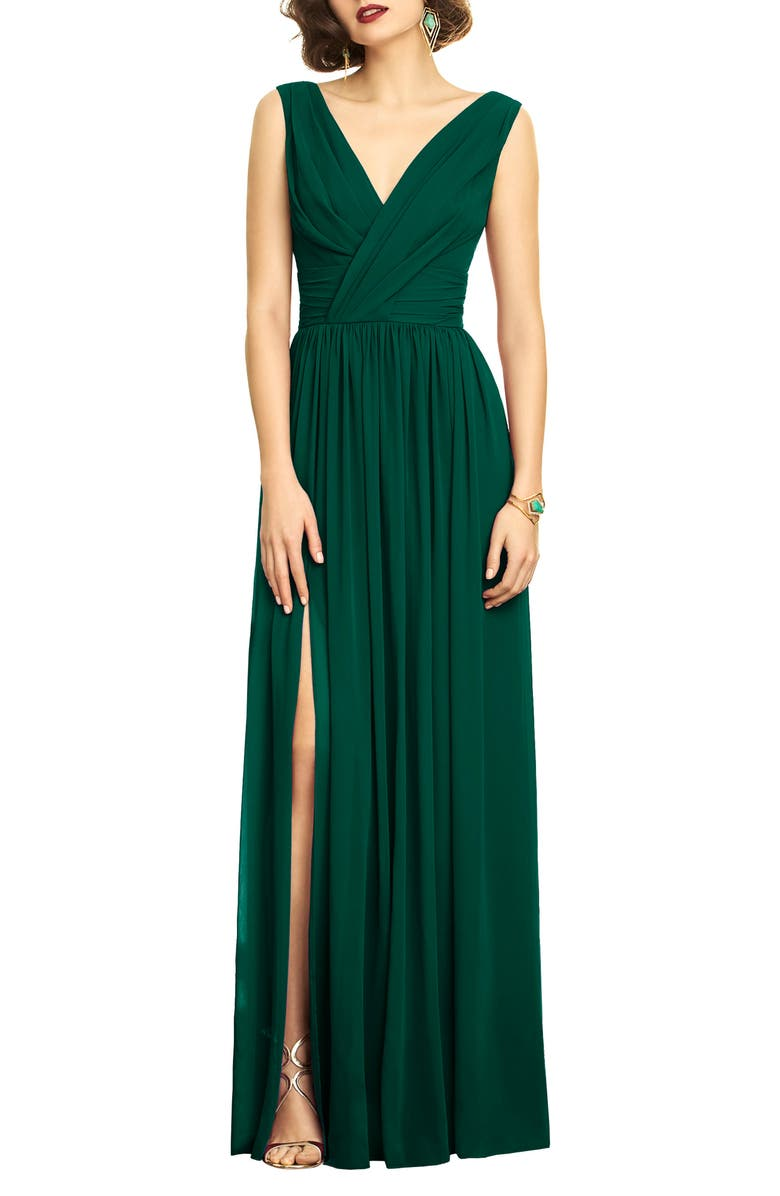 DESSY COLLECTION Surplice Ruched Chiffon Gown, Main, color, HUNTER
