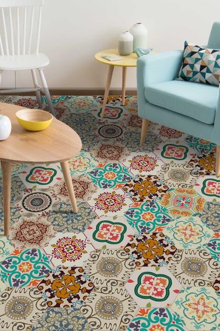 Image of WalPlus Colourful Turkish Hexagon Floor Tiles Stickers