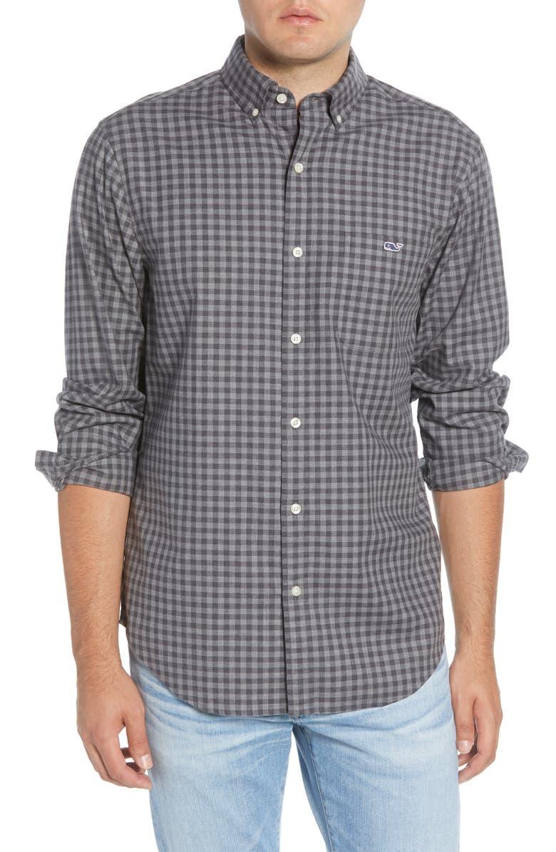 VINEYARD VINES Raglan Tucker Classic Fit Check Button-Down Shirt, Main, color, EVENING SKY