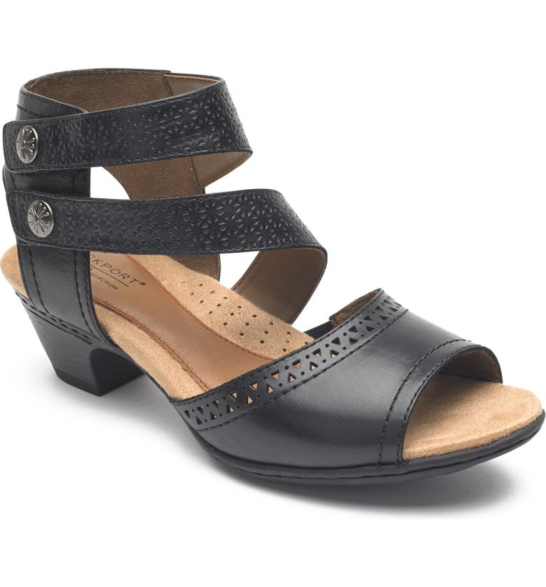ROCKPORT COBB HILL Abbott Double Cuff Perforated Sandal, Main, color, BLACK LEATHER