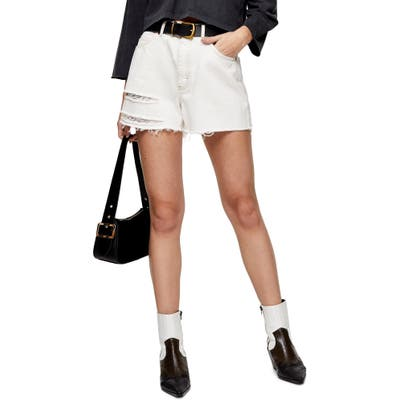 Topshop A-Line Ripped Denim Shorts, US (fits like 6-8) - White
