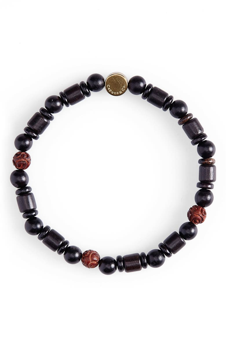 CAPUTO & CO. Reflection Bead Bracelet, Main, color, RED SANDALWOOD