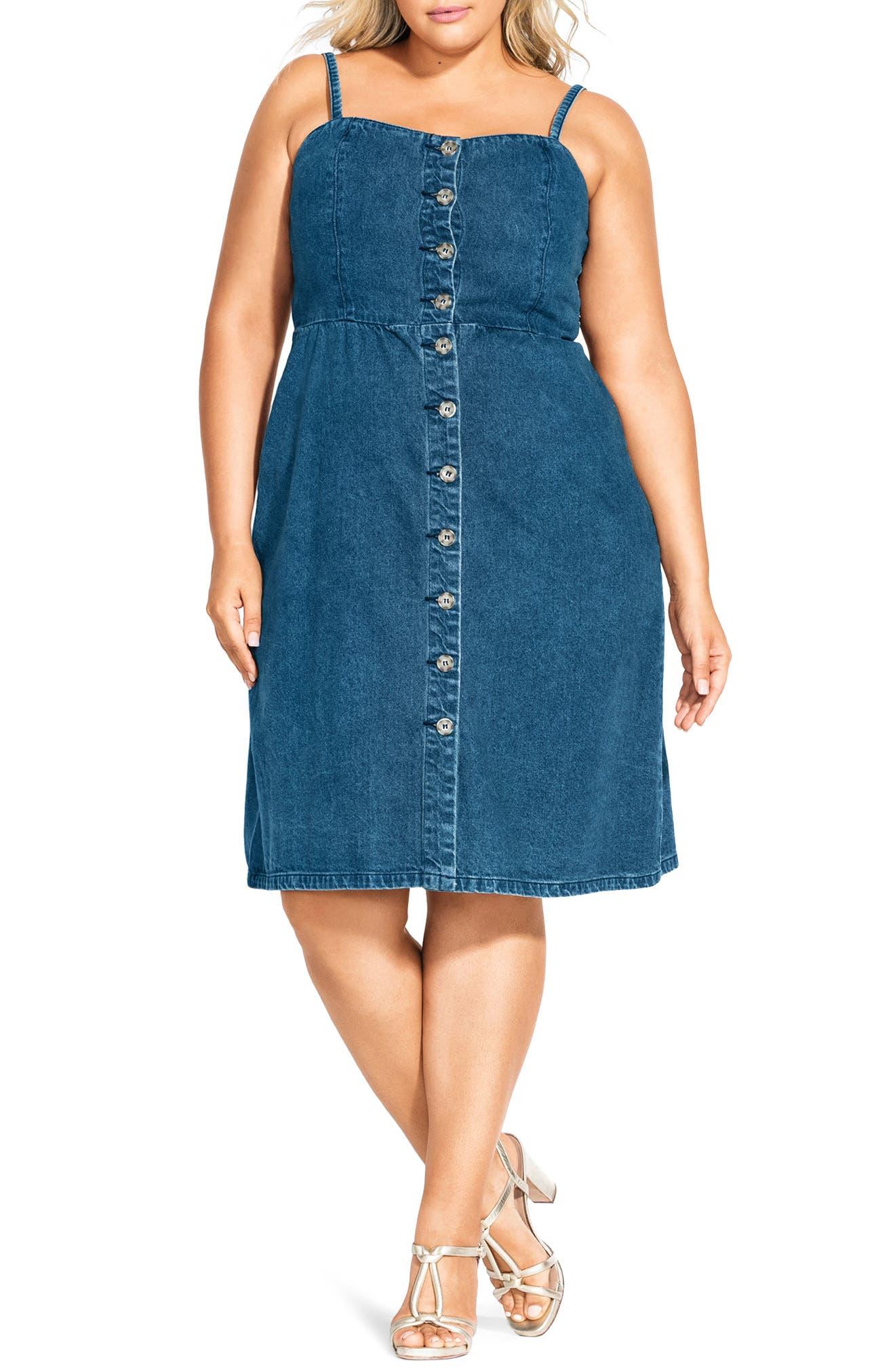 Plus Size City Chic Desire Cotton Denim Sundress, Blue