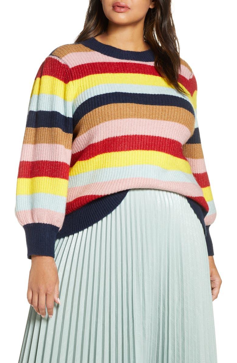 HALOGEN<SUP>®</SUP> x Atlantic-Pacific Blouson Sleeve Sweater, Main, color, NAVY MUTLI STRIPE