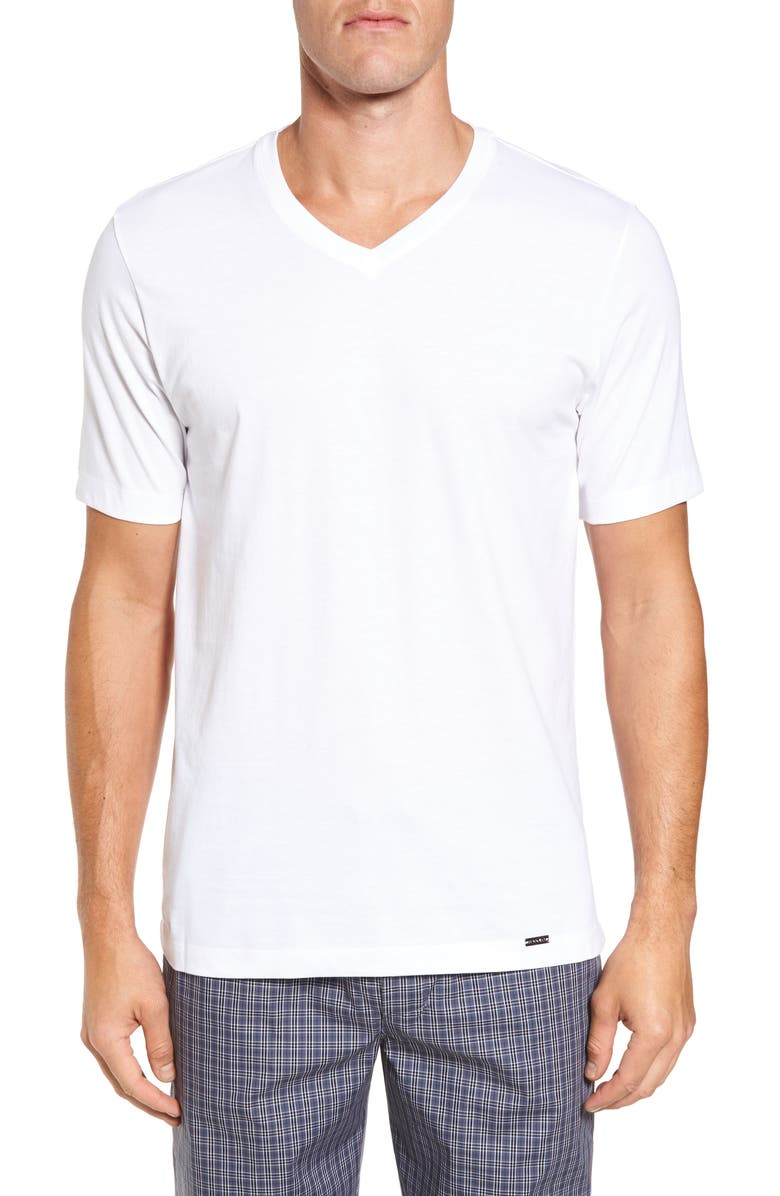 HANRO Living V-Neck T-Shirt, Main, color, WHITE