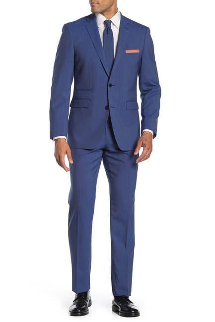 Image of Vince Camuto Blue Stripe Two Button Notch Lapel Slim Fit Suit