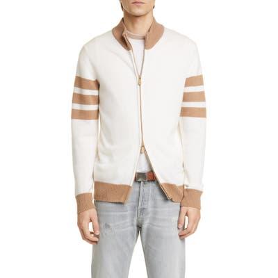 Eleventy Slim Fit Cashmere Zip Cardigan, White