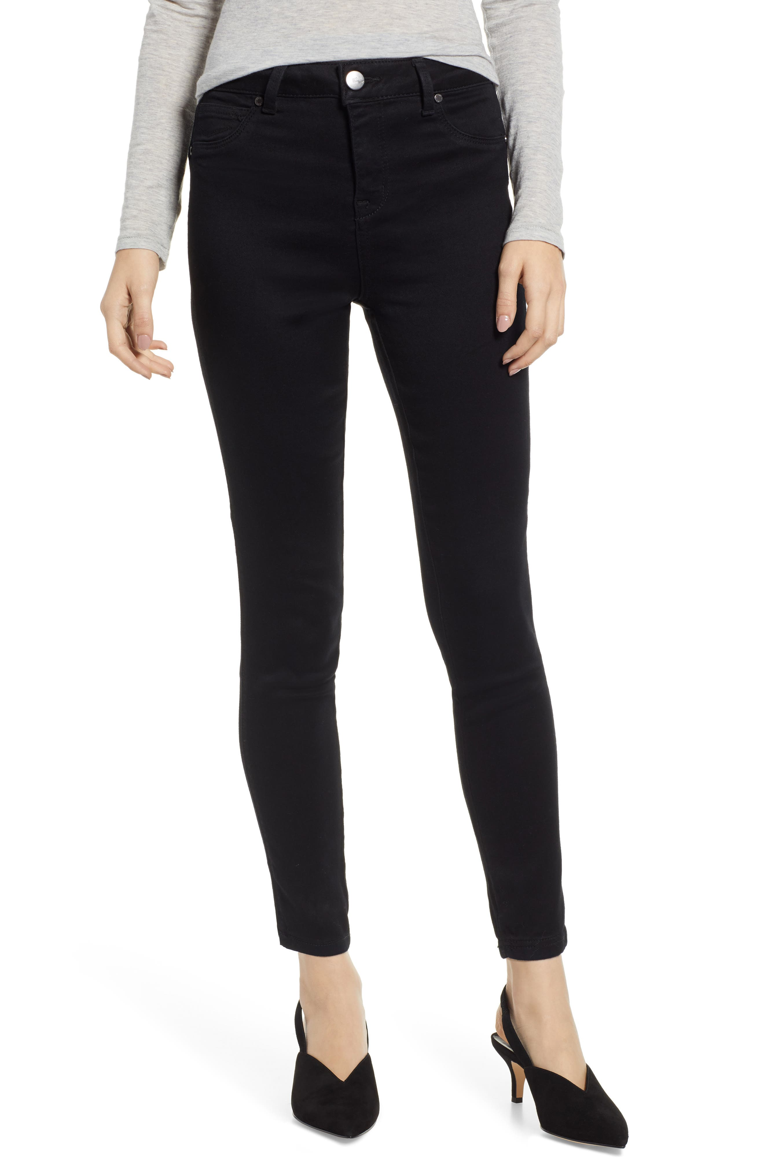 ,                             Butter High Waist Skinny Jeans,                             Main thumbnail 1, color,                             BLACK