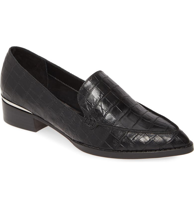DOLCE VITA Arlene Pointed Toe Loafer, Main, color, NOIR CROCO