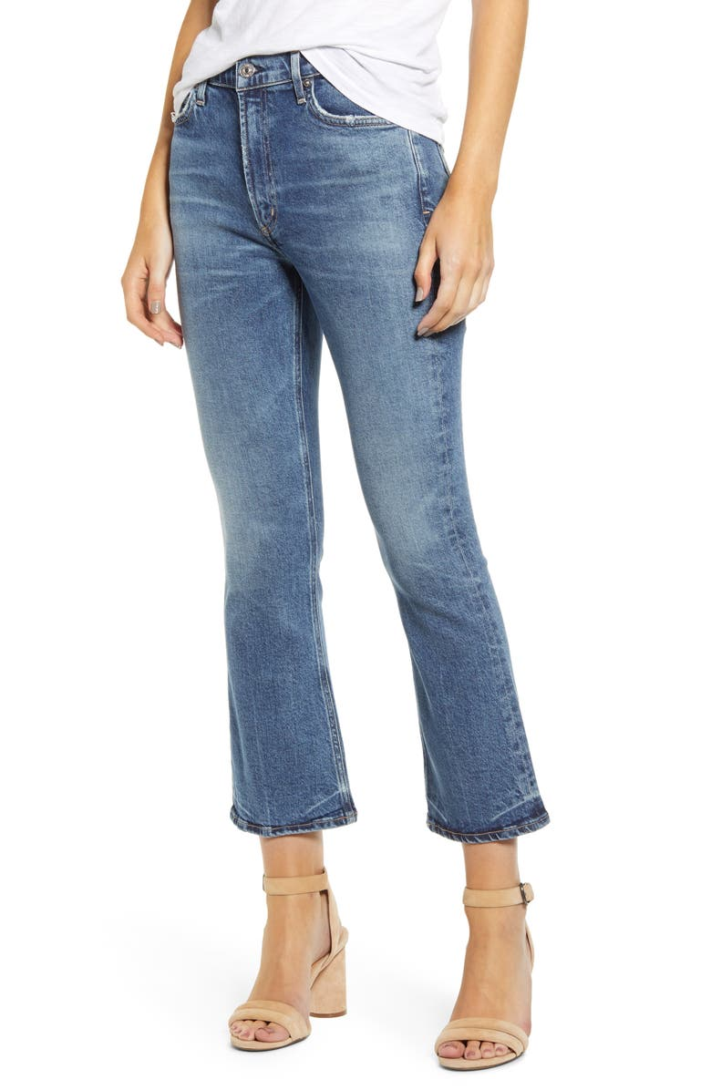 CITIZENS OF HUMANITY Demy High Waist Crop Flare Jeans, Main, color, MOMENTS