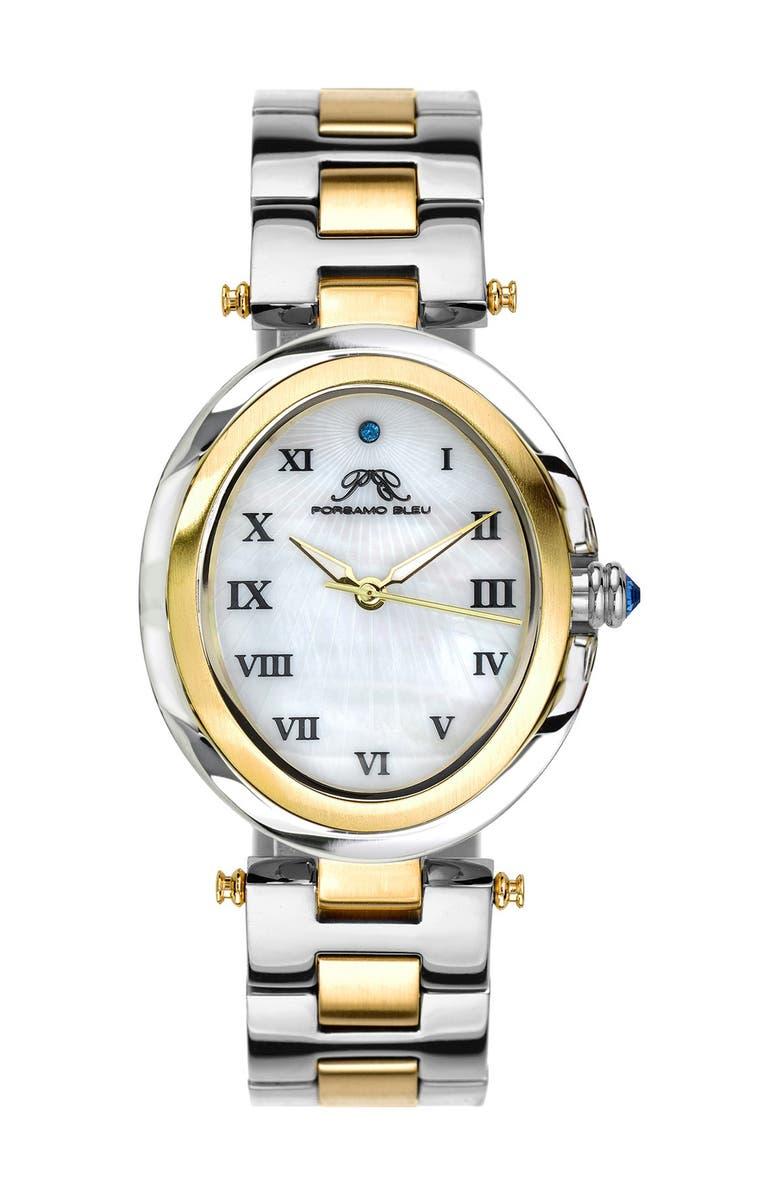 PORSAMO BLEU Women's South Sea Swarovski Crystal Two-Tone Bracelet Watch, 30.75mm, Main, color, SILVER