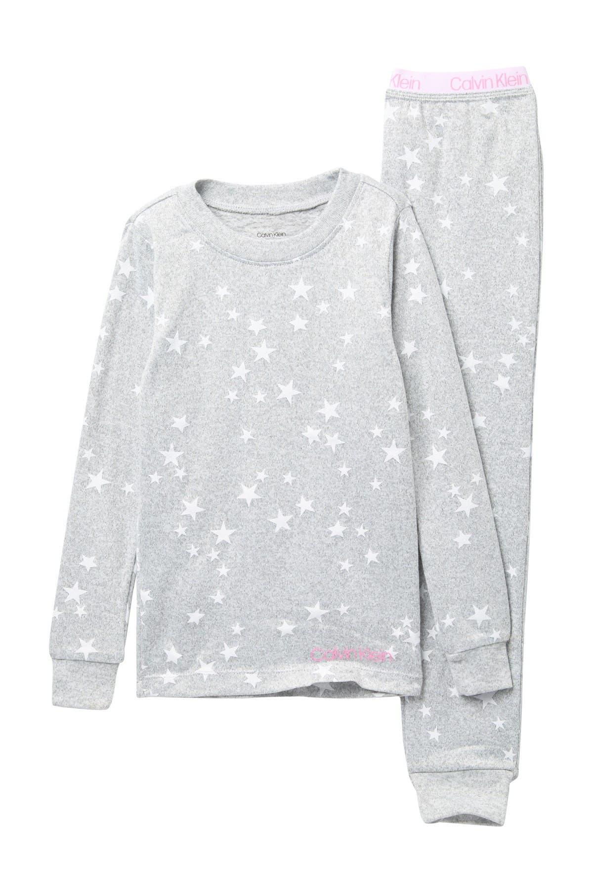Image of Calvin Klein Star Print Long Sleeve Top & Pants Pajama Set