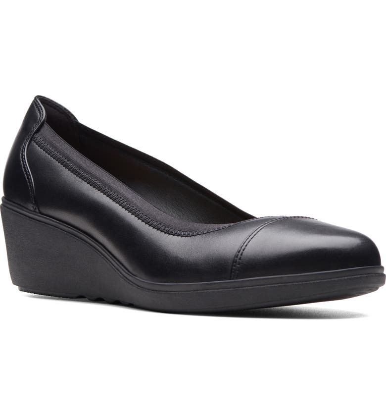 CLARKS<SUP>®</SUP> Unstructured Tallara Liz Wedge Pump, Main, color, BLACK LEATHER