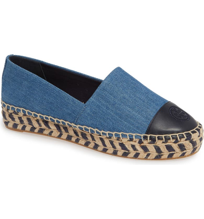 TORY BURCH Colorblock Platform Espadrille, Main, color, DENIM CHAMBRAY/ PERFECT NAVY