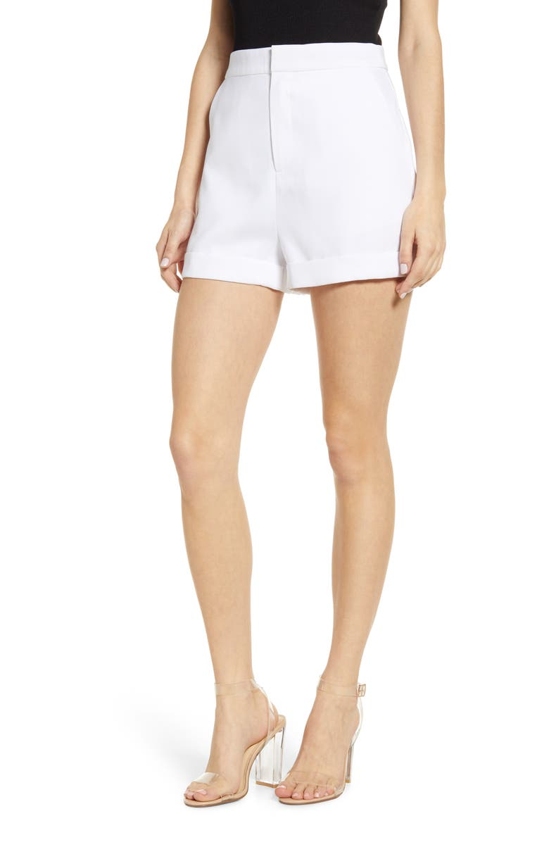 ENDLESS ROSE High Waist Tailored Shorts, Main, color, WHITE