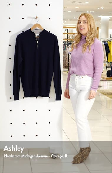 Crown Comfort Cash Quarter Zip Cashmere Blend Pullover, sales video thumbnail
