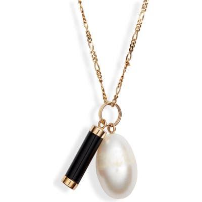 Loren Stewart Teardrop Pearl & Onyx Pendant Necklace