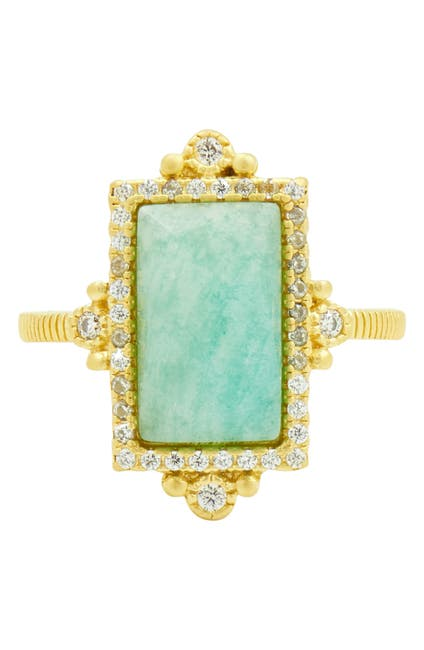 Image of Freida Rothman 14K Gold Plated Sterling Silver CZ & Amazonite Cocktail Ring