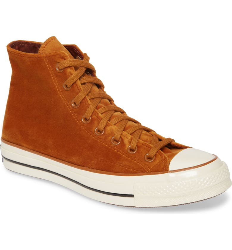 CONVERSE Chuck Taylor<sup>®</sup> All Star<sup>®</sup> 70 High Top Sneaker, Main, color, BURNT SIENNA VELVET