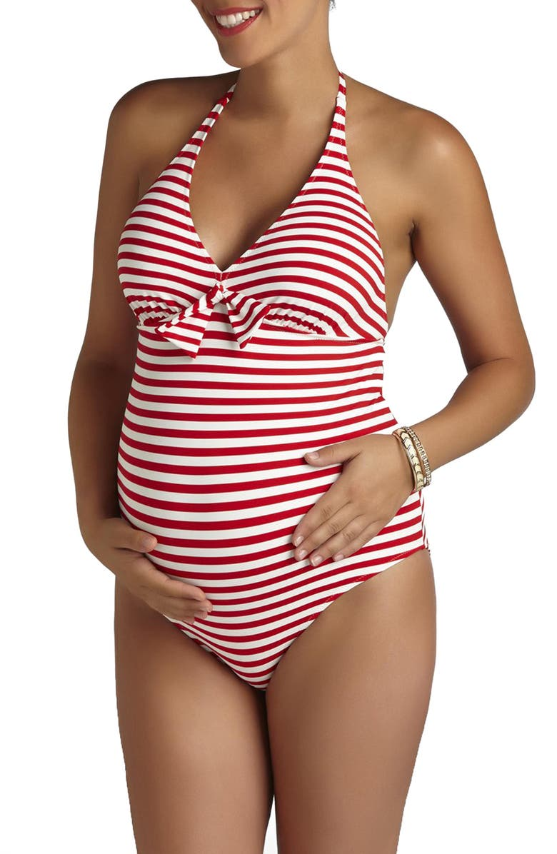 PEZ D'OR Stripe One-Piece Maternity Swimsuit, Main, color, RED