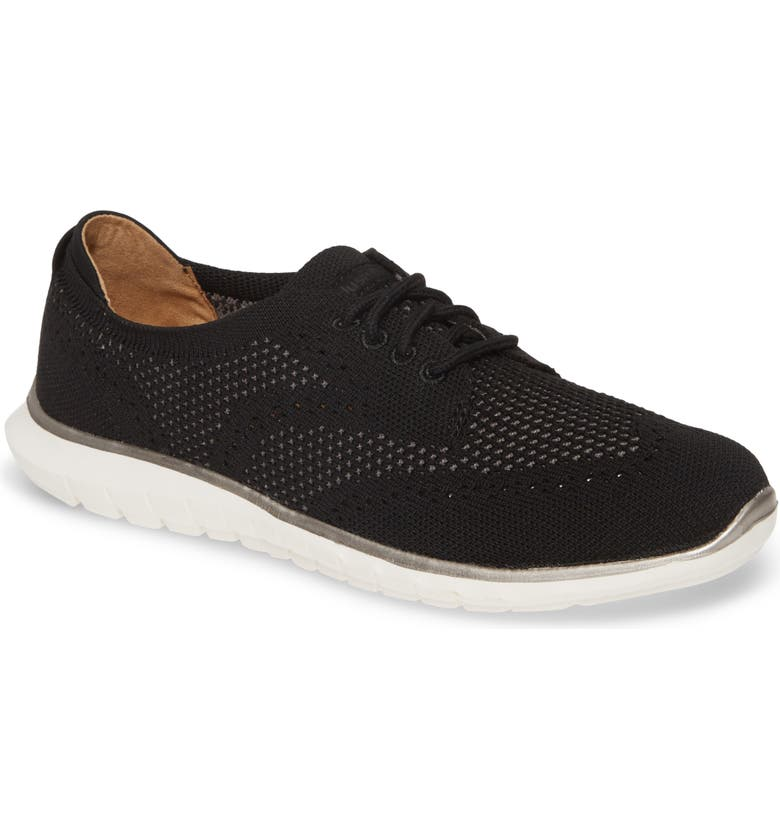 HUSH PUPPIES<SUP>®</SUP> Tricia Wingtip Knit Sneaker, Main, color, BLACK KNIT FABRIC
