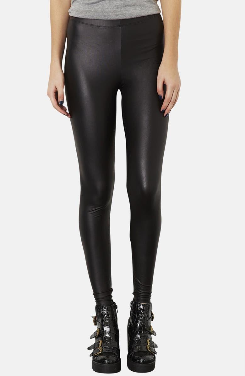TOPSHOP Faux Leather Leggings, Main, color, 001