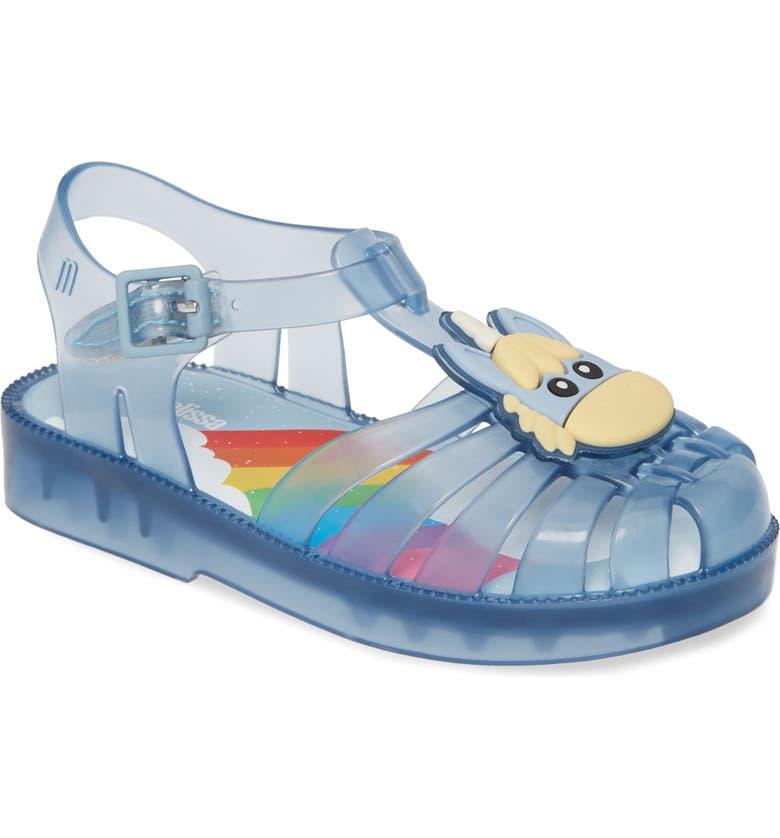 MINI MELISSA Possession Unicorn Glitter Sandal, Main, color, BLUE