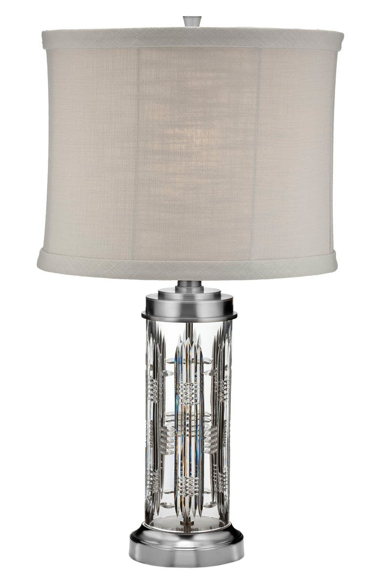 WATERFORD Dungarvan Lead Crystal Chrome Table Lamp, Main, color, CRYSTAL